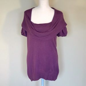 AGB Cowl Neck Short Sleeve Purple Sweater Top